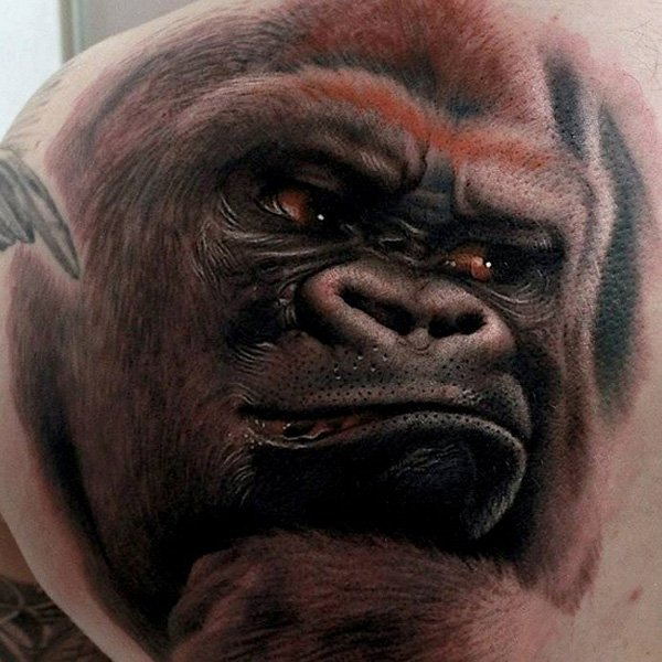 Realistic Angry Gorilla Tattoo