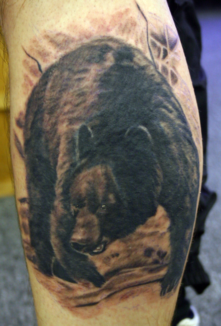 Realistic Bear Wildlife Tattoo On Arm
