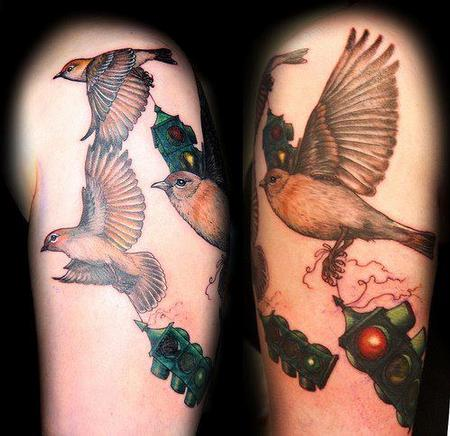 Realistic Bird Stoplight Flying Color Tattoo