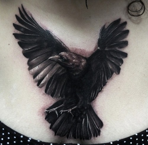 Realistic Black Crow Tattoo On Chest