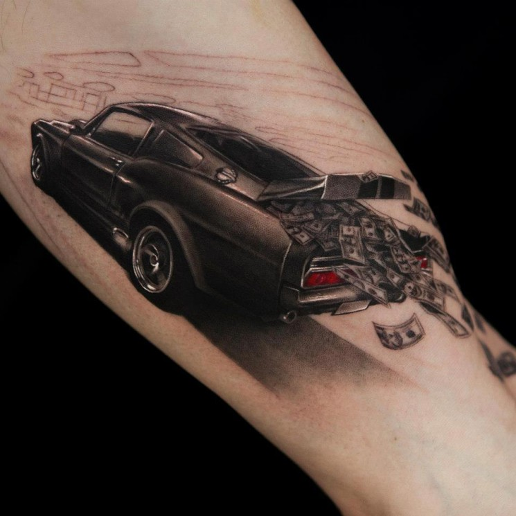 Realistic Car Front Tattoo On Muscles For Men