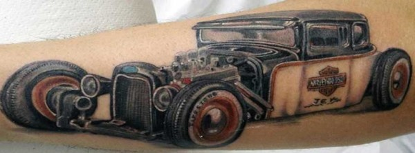Realistic Car Tattoo On Muscles