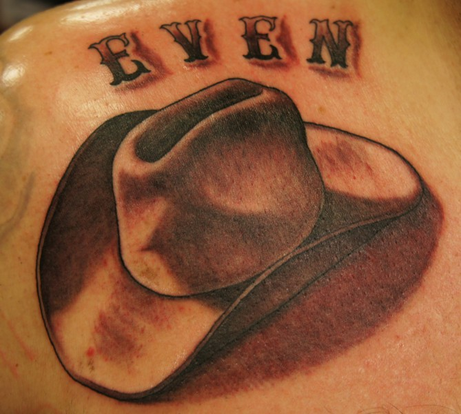 Realistic Cowboy Hat Tattoo Design
