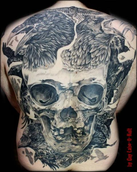 Realistic Crow And Skull Shoulder Tattoos