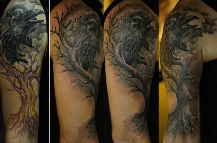 Realistic Crow Tree Tattoo On Sleeve For Men