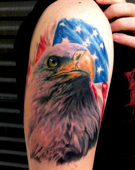 Realistic Eagle And American Flag Tattoos On Arm