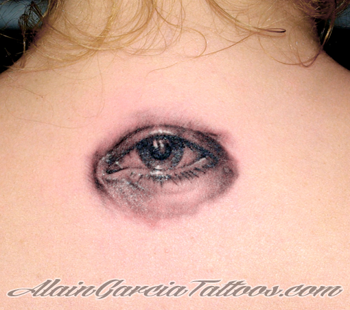 Realistic Eye Neck Tattoo