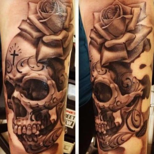 Realistic Female Viking Warrior Face Tattoo On Thigh