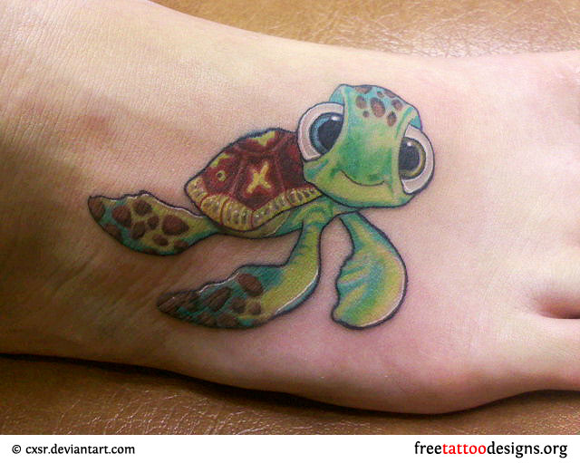 Realistic Flower And Turtle Tattoos For Men