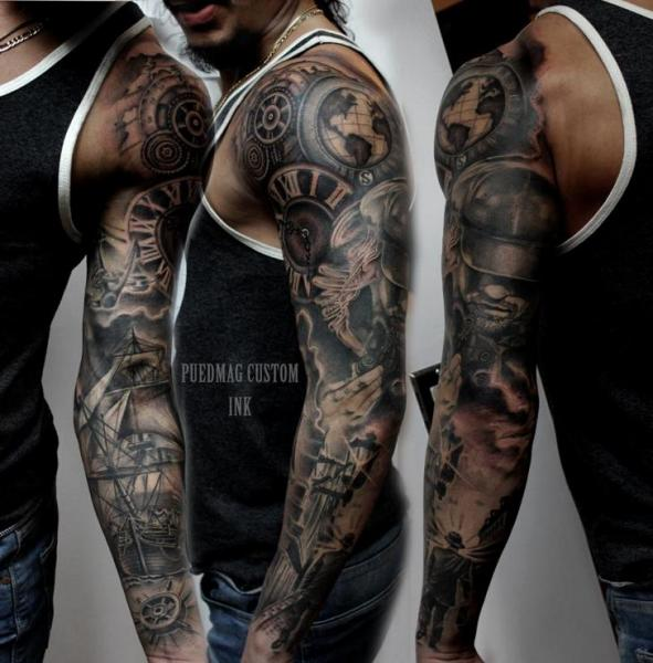 Realistic Gear Clock Tattoo On Sleeve