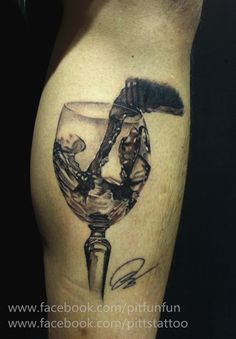 Realistic Glass Of Wine Tattoo