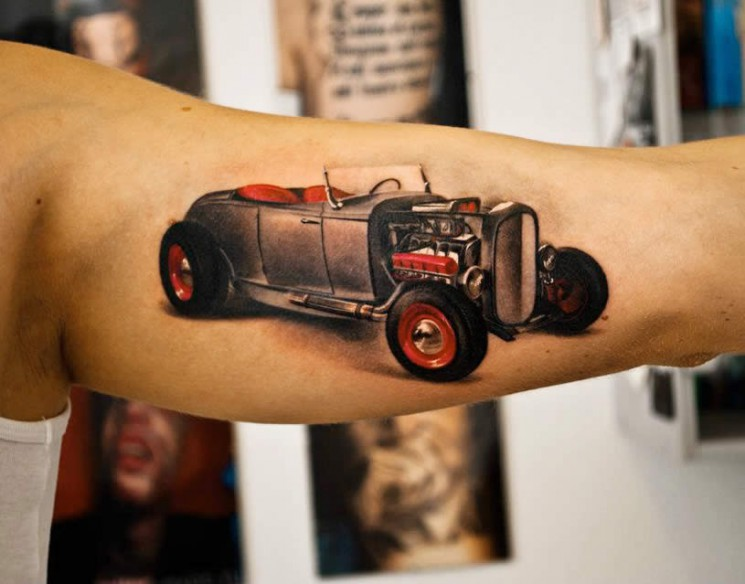 Realistic Grey Car Front Tattoo On Inner Muscles