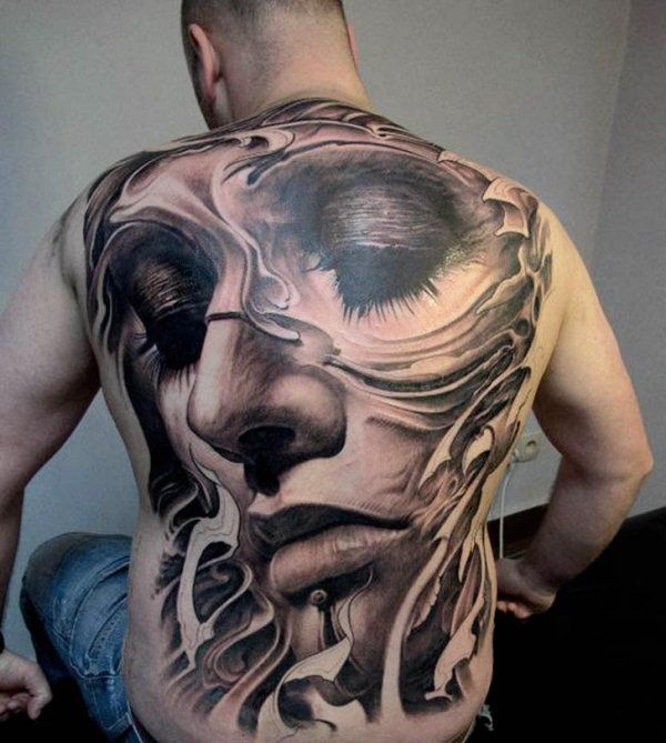Realistic Head Of A Horse Tattoo On Back Shoulder