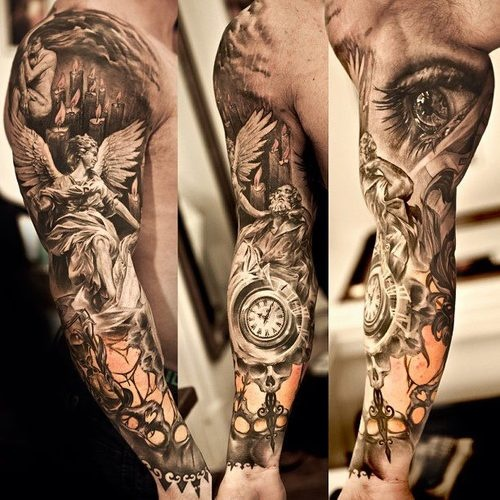 Realistic Owl Eyes Tattoo On Biceps