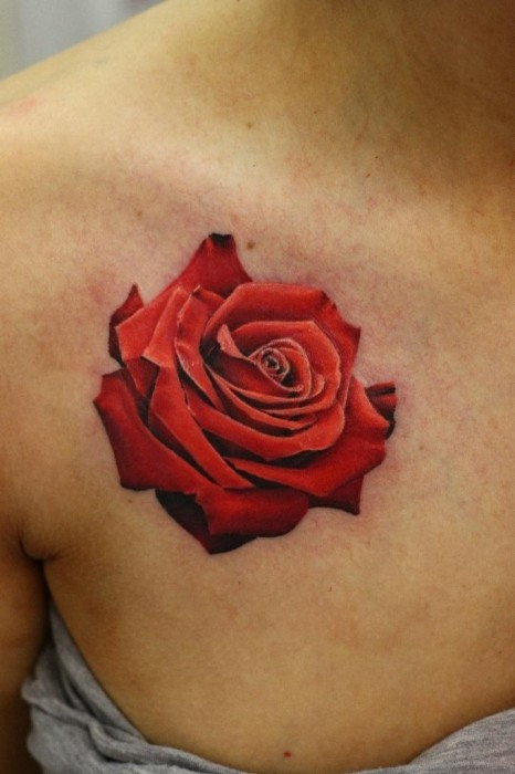 Realistic Red Rose 3D Tattoo On Arm