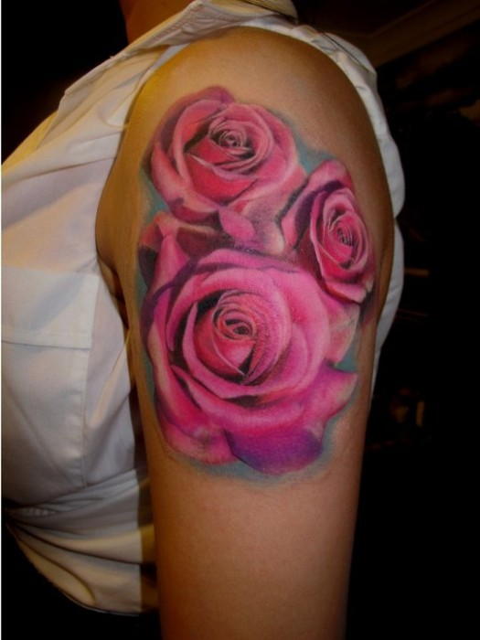 Realistic Rose Tulip And Sunflower Tattoos On Sleeve