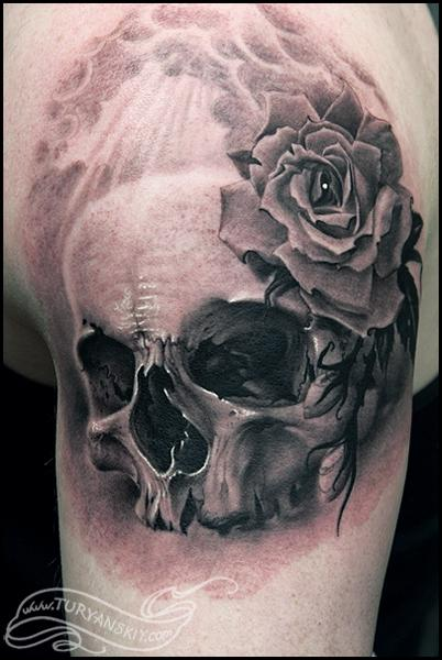 Realistic Skull And Rose Tattoos