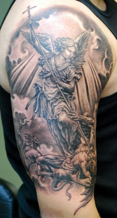 Realistic Warrior Angel Tattoo On Legs