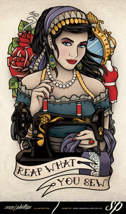 Reap What You Sew Gypsy Tattoo Design