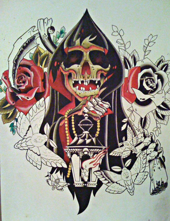 Reaper Holding Lamp Tattoo Design With Roses