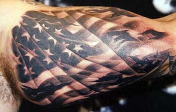 Rebel Flag Tear Out Tattoo On Biceps