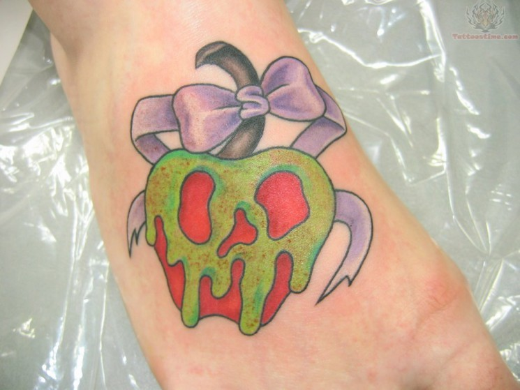 Red Apple Tattoo On Foot