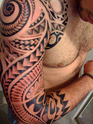 Red Black Armband Tattoo On Muscles
