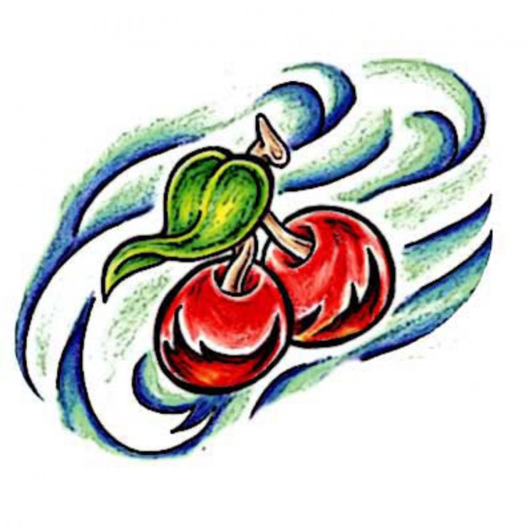Red Cherries With Green Leaf Tattoo Design