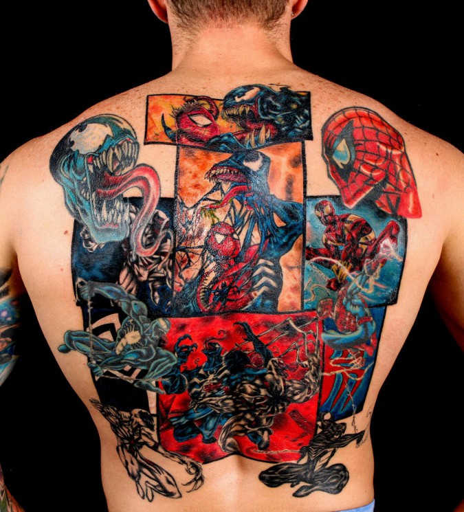 Red Color Alien Tattoo