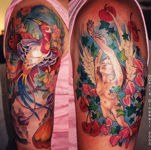 Red Dragon And Wizard Tattoos On Shoulder