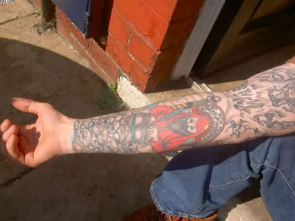 Red Dressed Wizard Tattoo On Arm