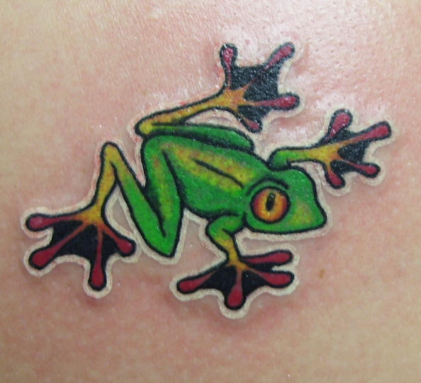 Red Eyed Frog Tattoo On Arm