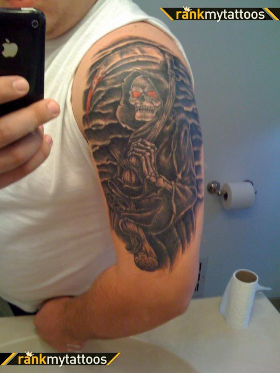Red Eyed Grim Reaper Tattoo Image