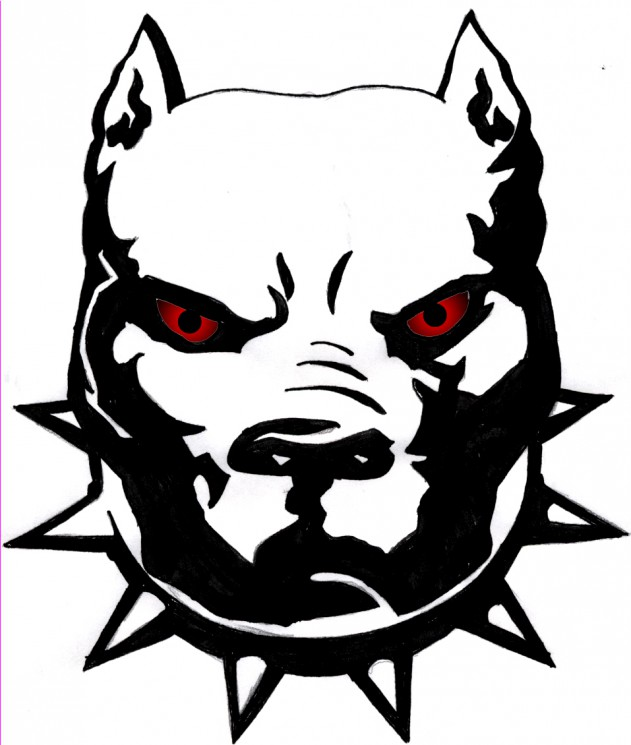 Red Eyes Dog Face Tattoo Sample