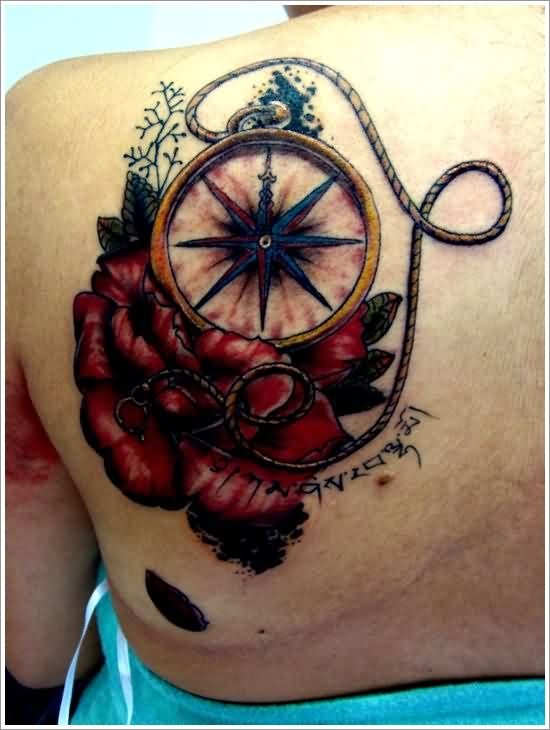Red Flowers Nautical Compass With Rope Tattoos