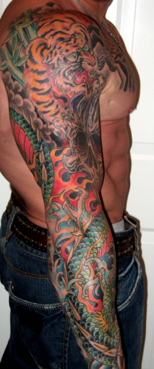 Red Frog Tattoo On Sleeve