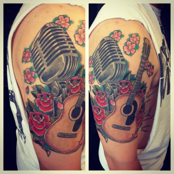 Red Guitar Arm Band Tattoo