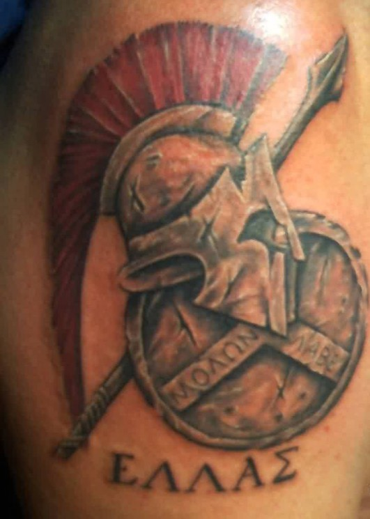Red Haired Helmet And Shield Tattoos