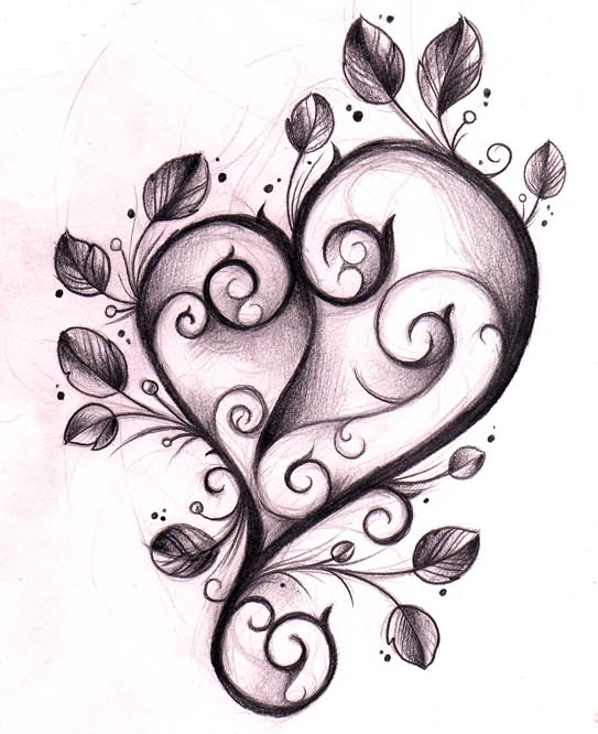Red Heart Couple Tattoo Design