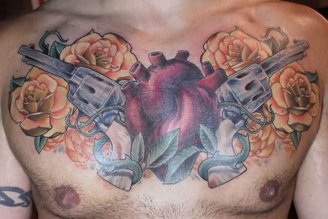 Red Heart Pistol And Orange Rose Tattoos On Chest