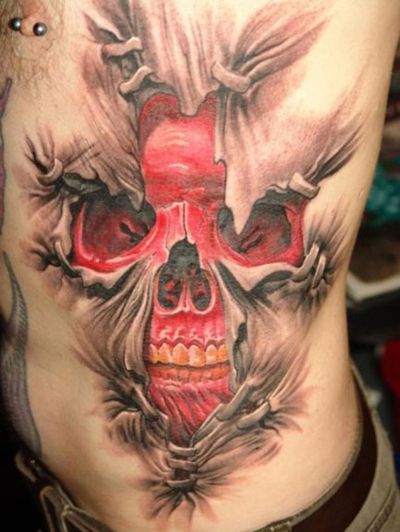 Red Heart Torn Skin 3D Tattoo On Chest