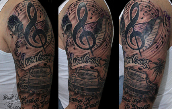 Red Ink Key Tattoo On Arm