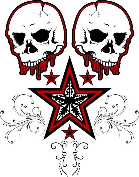 Red Outline Skulls And Star Tattoo Designs