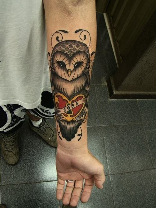 Red Rose And Color Owl Tattoos