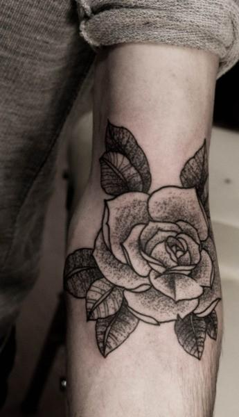 Red Rose Candle Tattoo Image