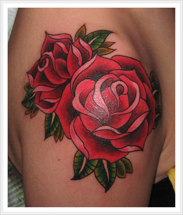 Red Rose Traditional Tattoo For Shoulder