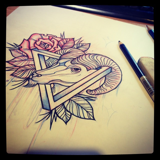 Red Rose Triangle And Goat Head Pencil Sketch