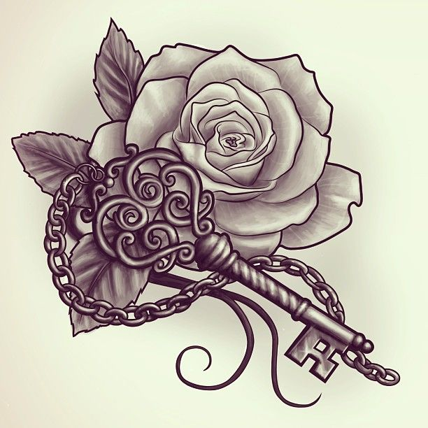 Red Rose n Key Tattoo Design