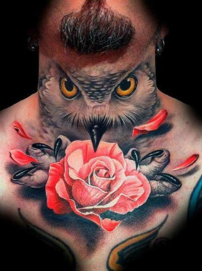 Red Roses And Owl Tattoos Flash