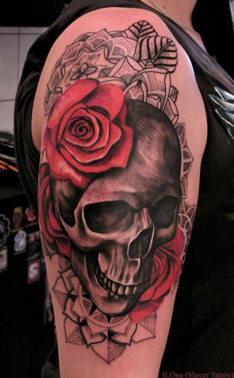 Red Roses And Skull Tattoos On Arm